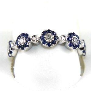 Blue Sapphire & Diamond Ring Band 14K WG .59Ct